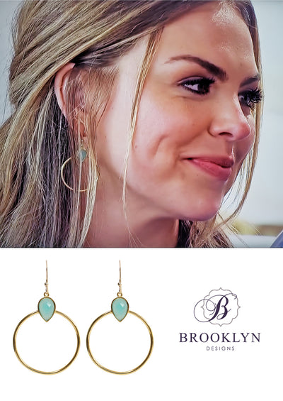 Baja Aqua Chalcedony Gold Hoop Earrings *As Seen On The Bachelorette*