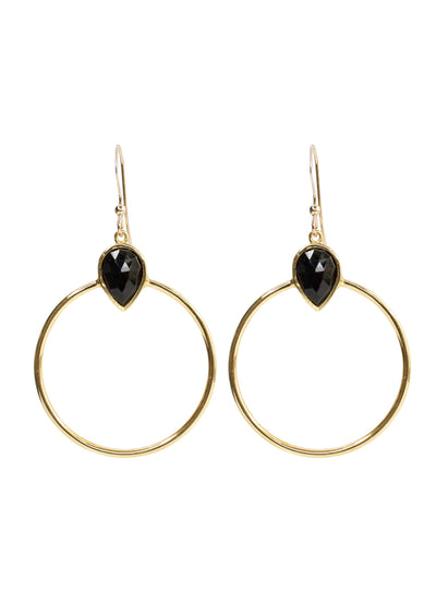 Baja Black Onyx Gold Hoop Earrings