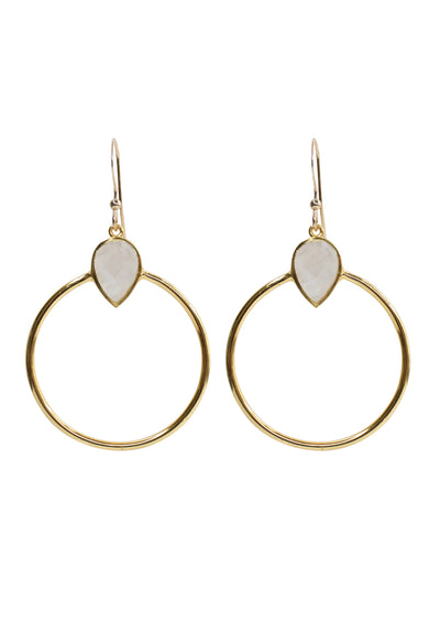 Baja Rainbow Moonstone Gold Hoop Earrings