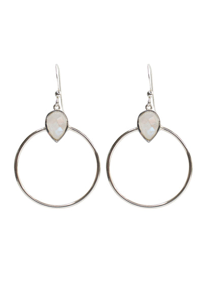 Baja Rainbow Moonstone Silver Hoop Earrings
