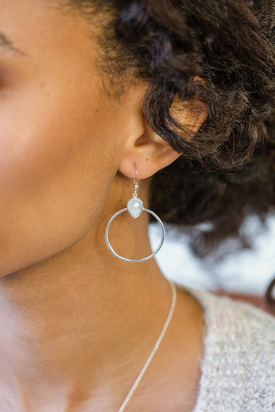 Baja Aqua Chalcedony Silver Hoop Earrings