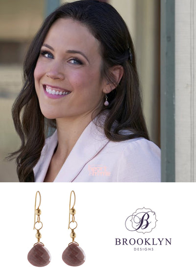 Cali Rhodonite Gold Earrings *As Seen On When Calls The Heart*
