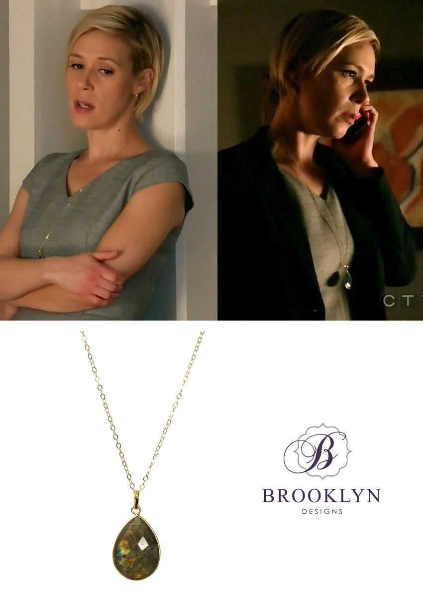 Danielle Labradorite Long Gold Necklace *As Seen On How To Get Away With Murder*