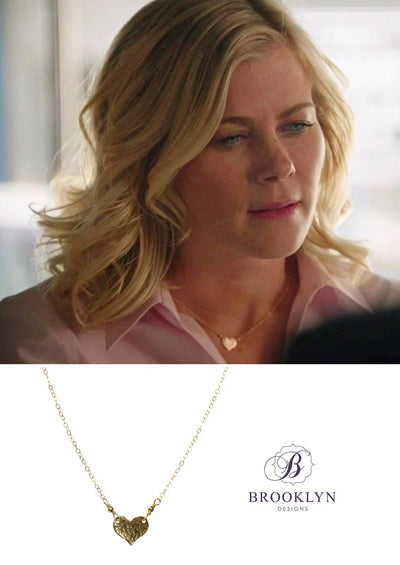 Daphne gold heart necklace as seen on alison sweeney hallmark channel