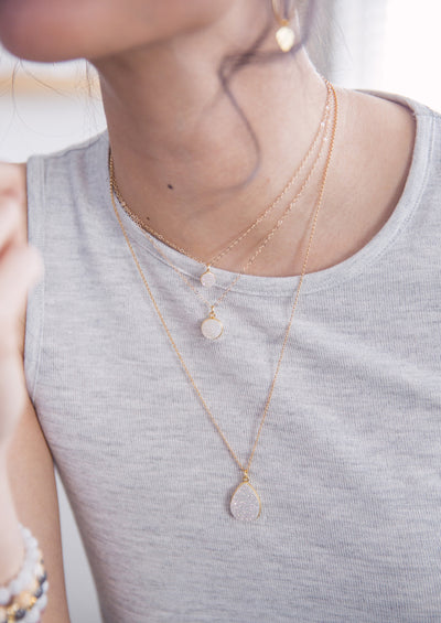 Brielle silver druzy layering necklace