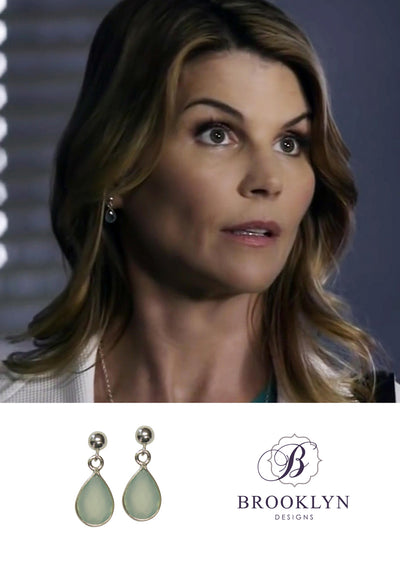 Ellington Aqua Chalcedony Silver Earrinngs * As Seen On Lori Loughlin*