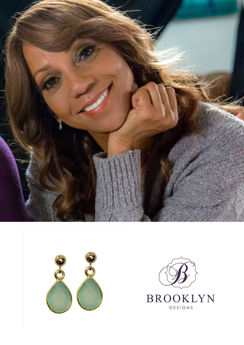 Ellington Aqua Chalcedony Gold Earrings *As Seen On Holly Robinson Peete*