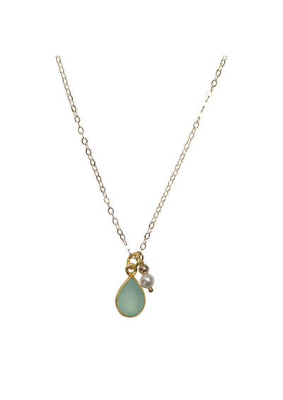 Ellington Aqua Chalcedony Gold Necklace *As Seen On Lacey Chabert and Holly Robinson Peete*