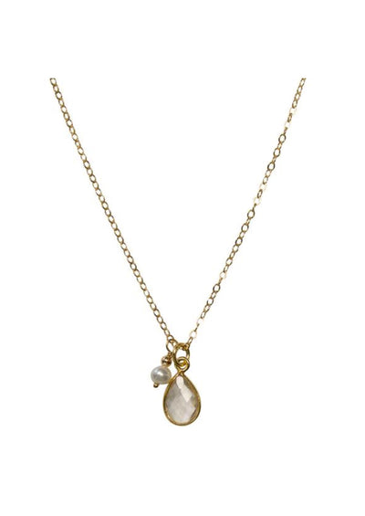 Ellington Crystal Quartz Gold Necklace *As Seen On Kevin Can Wait*
