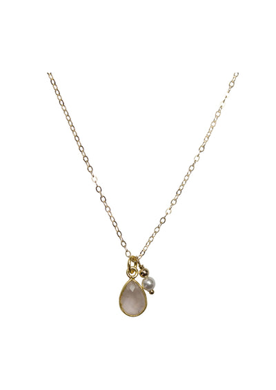 Ellington Rose Quartz Gold Necklace *As Seen On The Wedding March*