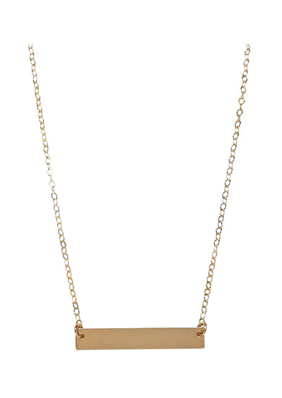 ENGRAVED Bar Gold Necklace *As Seen On Kortney Wilson*