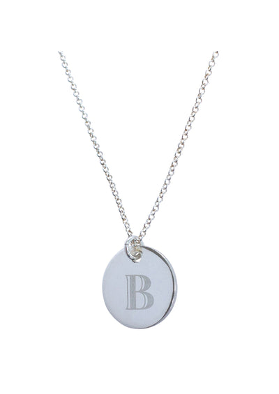 ENGRAVED Initial Silver Necklace