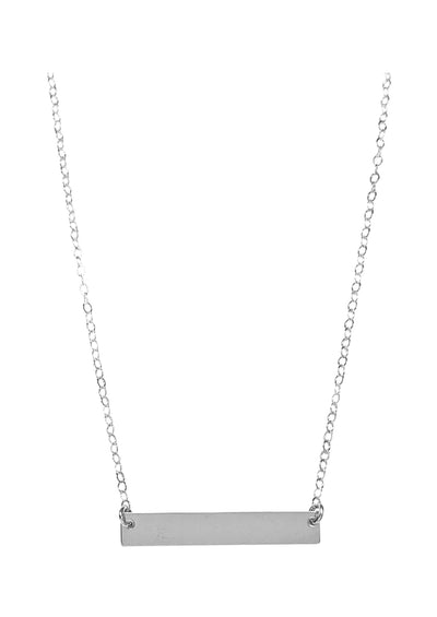 ENGRAVED Bar Silver Necklace
