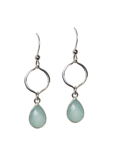 Erin Aqua Chalcedony Silver Earrings *As Seen On Aurora Teagarden Mystery*