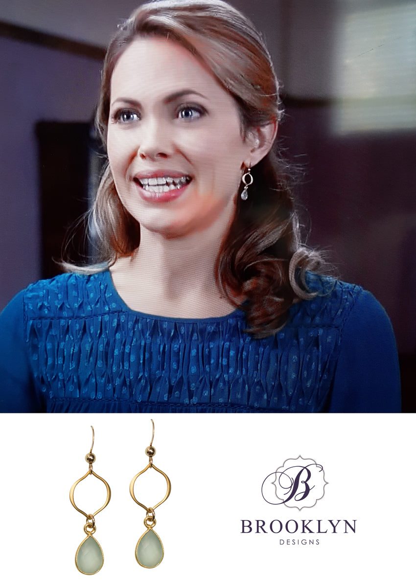 Erin Aqua Chalcedony Gold Earrings *As Seen On When Calls The Heart*