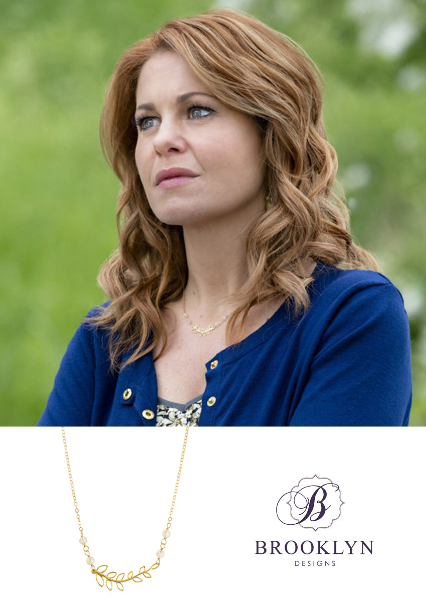 Flora gold leaf necklace as seen on Aurora Teagarden Mysteries