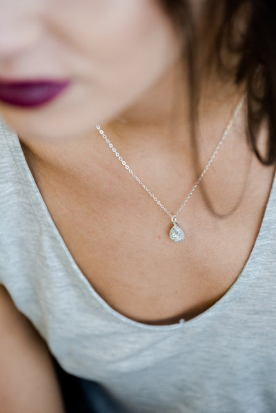 Dainty CZ bridal teardrop necklace