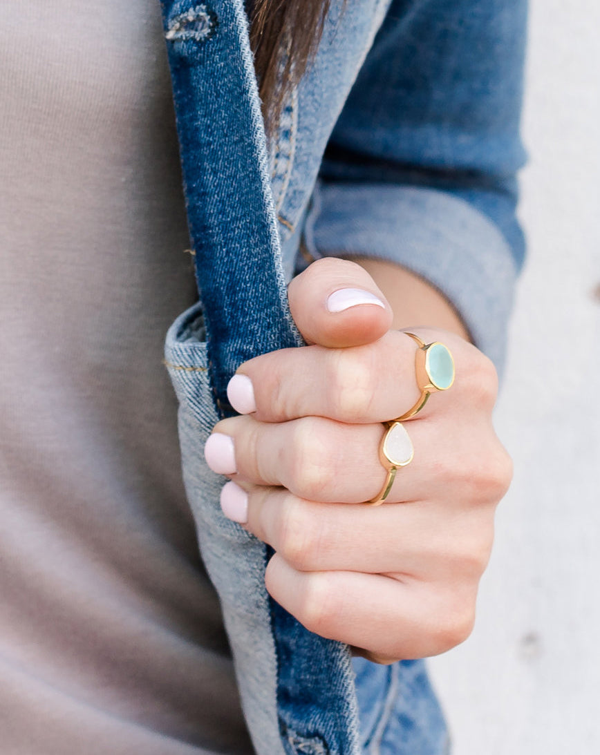 Hampton Aqua Chalcedony Gold Ring *As Seen On The Bachelorette*