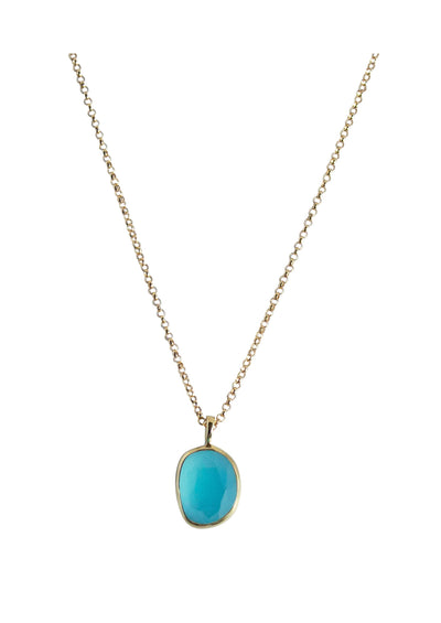 Keaton Aqua Chalcedony Gold Necklace
