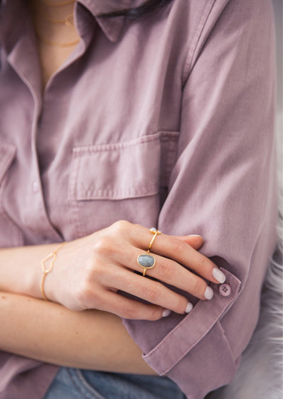 Keaton Aqua Chalcedony Gold Ring *As Seen On The Bachelorette*