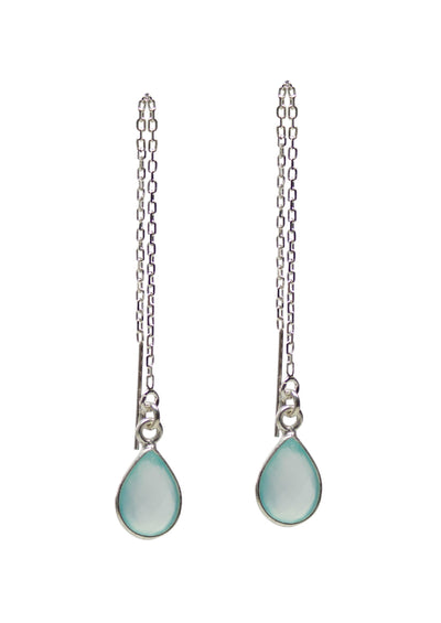 Margo Aqua Chalcedony Silver Threader Earrings *As Seen On How To Get Away With Murder*