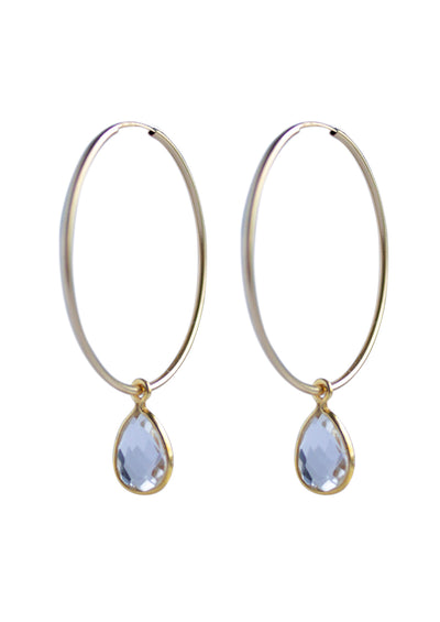 Mila Crystal Quartz Gold Hoops
