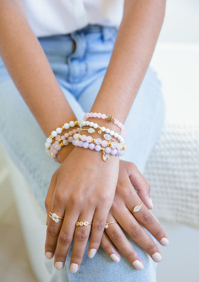 Riona Rose Quartz Gold Bracelet