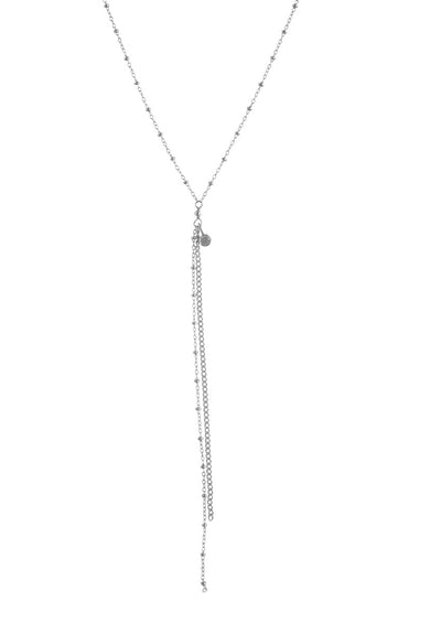 Rebekka Long Silver Lariat Necklace