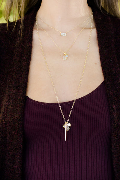 Mila Rose Quartz Long Silver Necklace