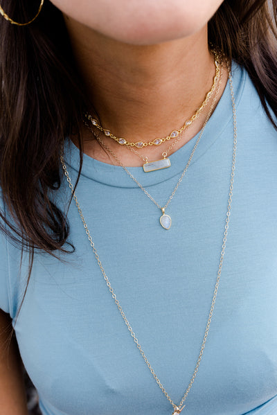 Soho Rose Chalcedony Gold Necklace *As Seen On The Bachelorette*
