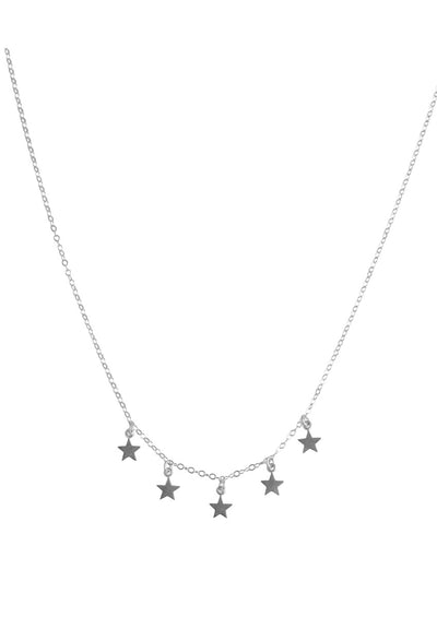 Star Fringe Silver Necklace