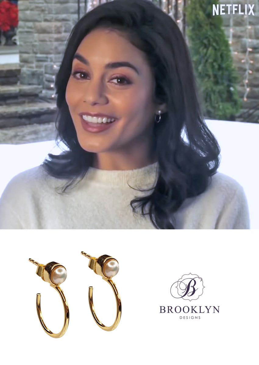 Sharlene Pearl Gold Hoops *As Seen On Vanessa Hudgens*
