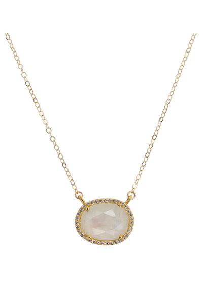 Winslet Rainbow Moonstone Gold Necklace