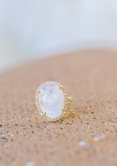 Winslet Rainbow Moonstone Gold Ring *As Seen On The Bachelorette*