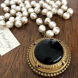 Lance Antique French Jet Mourning Button necklace