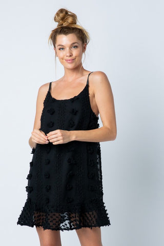 BLACK POM EMBELLISHED DRESSED