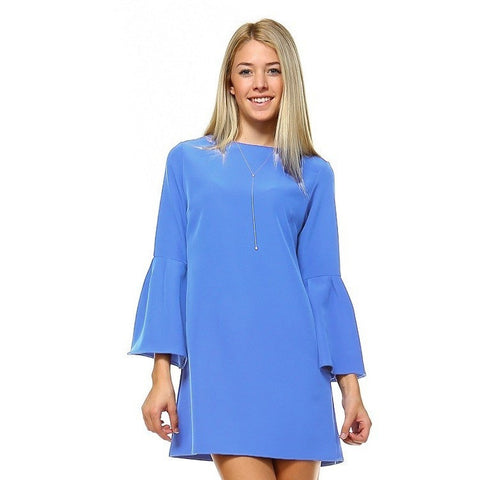 ALWAYS SAY YES BELL SLEEVE DRESS-BLUE