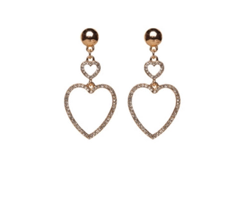 ALEXANDRIA DROP HEART EARRINGS