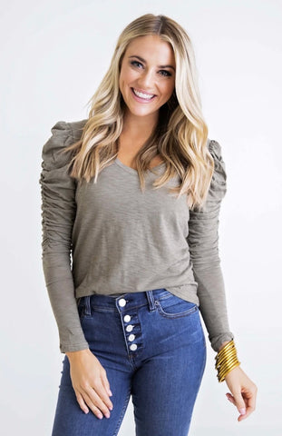 OLIVE PUFF SLV TOP