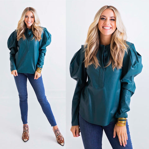 TEAL FAUX LEATHER PUFF SLV TOP