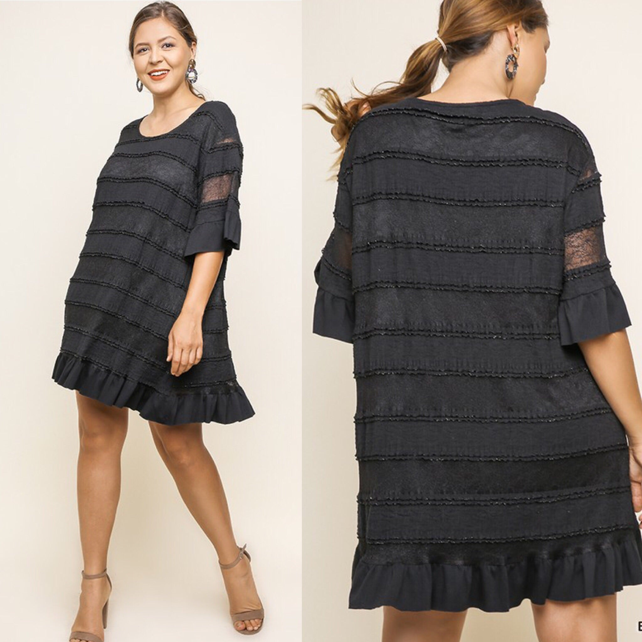 BLACK RUFFLE TIERED DRESS