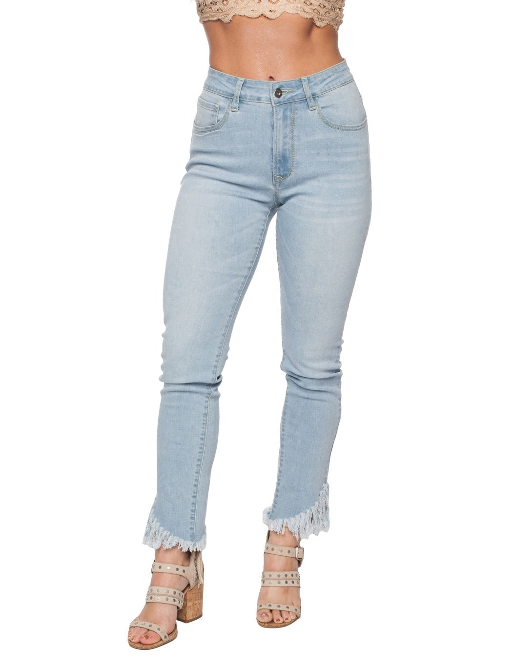 DUKE LIGHT WASH FRAYED DENIM