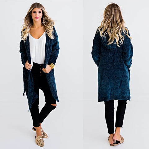 KARLIE GREEN CHENILLE HOODED CARDIGAN