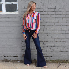 MULTI STRIPE POCKET BUTTON UP TOP