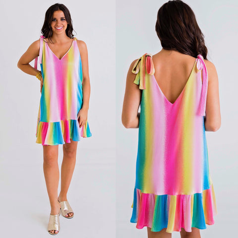BE BOLD METALLIC STRIPE DRESS
