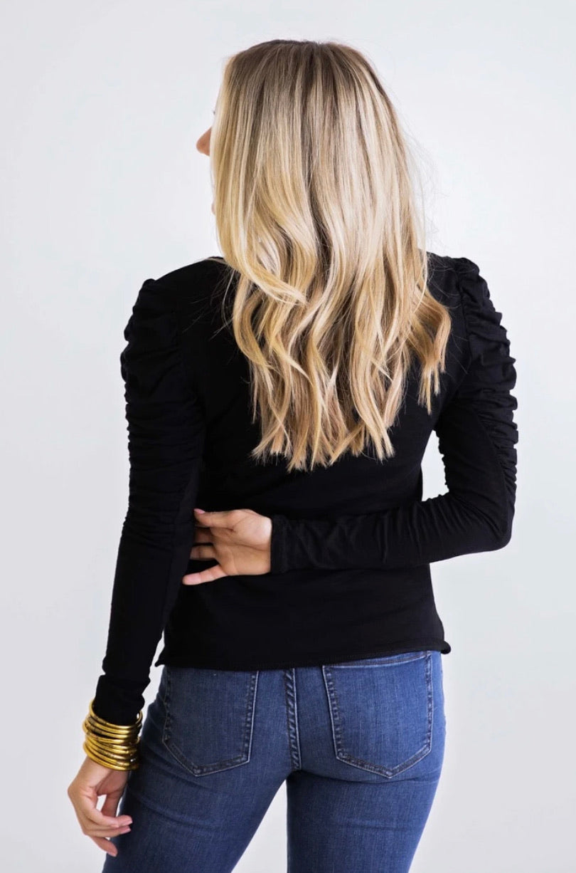 BLACK PUFF SLV TOP