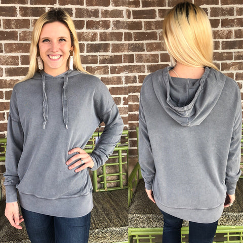 MIX GREY HOODED SWEATSHIRT