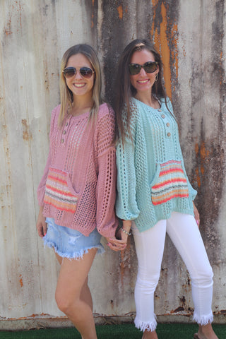 KANGAROO STRIPE POCKET SWEATER