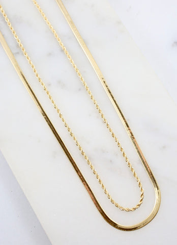 KERWIN DOUBLE LAYERED CHAIN NECKLACE