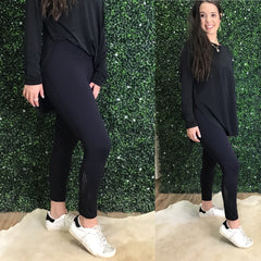 BLACK PERFORATED PANEL LEGGINGS